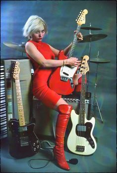 Debbie Harry! Blondie with boots & guitars