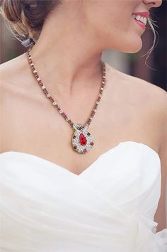 Presenting from our Vintage Estate Jewelry Collection: White Gold Ladies Diamond and Ruby Necklace. A simple necklace can be a tasteful addition to any outfit, but sometimes simple is simply not enough. This ladies diamond and ruby necklace quite lit Ruby Necklace, Simple Necklace, Arrow Necklace, Diamond Studs, Diamond Rings, Trendy Fashion Jewelry, First Day Of Spring, Jewelry Collection, Fashion Beauty