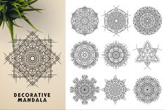 Ad: 300 Vector Mandala Ornaments by pixaroma on This bundle contains 300 unique vector Black & White mandala designs (some have clean lines and some have an organic look to have a Mandala Design, Mandala Art, Geometric Tattoo Sleeve Designs, Vector Pattern, Pattern Design, Sacred Geometry Symbols, Photography Backdrop Stand, Paper Ornaments, Ancient Civilizations