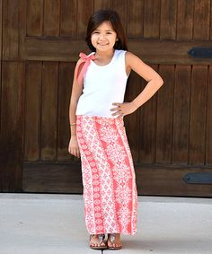 Look what I found on #zulily! Coral & White Baroque-Skirt Maxi Dress - Infant, Toddler & Girls #zulilyfinds