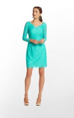 Lilly Pulitzer Helene Dress in Lagoon Green About Face Lace - $288