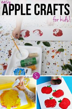 Easy Apple Crafts for Kids: It's time to have fun with apples! Make a paper plate apple or a tissue paper tree and then messy play with apple stamping! Preschool Apple Theme, Preschool Arts And Crafts, Apple Activities, Fun Activities For Toddlers, Preschool Activities, Preschool Projects, Educational Activities, Art Projects, Holiday Crafts For Kids