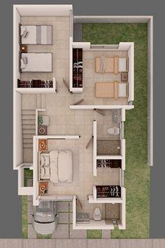 plantas de casas - planta de casa com três quartos e closet Small Modern House Plans, Simple House Plans, Tiny House Plans, Row House Design, Duplex House Design, 1500 Sq Ft House, 20x30 House Plans, House Construction Plan, Model House Plan