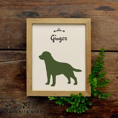 This is a great way to celebrate your pooch. A silhouette of a labrador retriever sits beneath script type that reads Labrador. You can customize