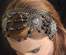 Pendant Beaded Headband - HEMATITE