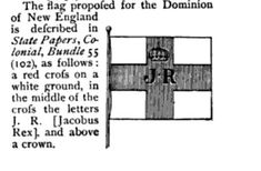 Dominion of New England flag, illustration published in Edward Randolph Letters and Official Papers, circa 1898 New England Flag, Christian Liberty Press, Massachusetts Bay Colony, Flag Art, Letter J, American Revolution, New Hampshire, 17th Century, American History