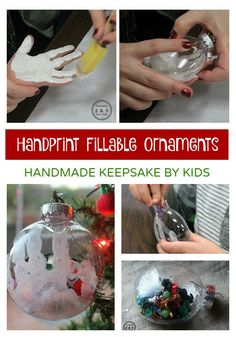 This handmade fillable ornament for kids makes a sweet keepsake for Christmas because of the added handprint. Would make a great gift!