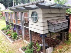Expanded Garden Coop Chicken Coop with Run and Bee Hive #chickencooptips