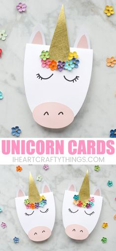 These DIY unicorn cards are gorgeous, simple to create and are guaranteed to bring a big smile to someone's face. Whether you are looking for a darling card for Mother's Day or a sweet card to brighten someone's day on any occasion, these pretty DIY unicorn cards fit the bill perfectly. #unicornparty #mothersdaygift #mothersdaycard #unicorndiy #kidscraft #craftsforkids #iheartcraftythings