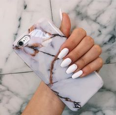 fashion, nails, marble phone case, instagram worthy, white acrylic nails