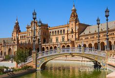 Bridge of Plaza de Espana (Square of Spain), in Seville, Spain by Anastasy Yarmolovich #AnastasyYarmolovichFineArtPhotography  #ArtForHome #Spain #Seville
