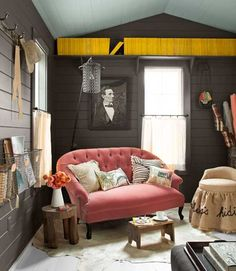 dark gray and pink color scheme for living room design with yelloe accents