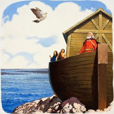 Noah and the dove Genesis 6, Bible Pictures, Biblical Art, Old Testament, Bible Stories, Sunday School, Dinosaurs, Gouache, Timeline