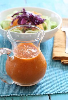 Easy, delicious and healthy Asian Ginger Carrot Dressing recipe from SparkRecipes. See our top-rated recipes for Asian Ginger Carrot Dressing. Carrot Ginger Dressing, Ginger Salad Dressing Japanese, Asian Dressing, Salad Dressing Recipes, Salad Dressings, Vinaigrette Dressing, Vegan Recipes, Cooking Recipes, Salad Dishes