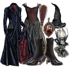 witch costume - Polyvore - I really like the two dresses. I wouldn't wear the witch hat but I really like the dresses