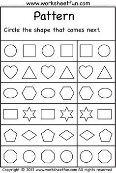 Worksheets Shape Pattern Worksheets worksheets the shape and free printable on pinterest