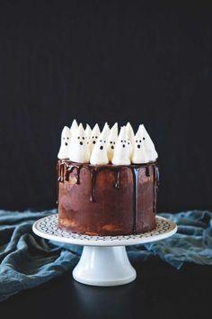Chocolate Pumpkin Cake with Meringue Ghosts