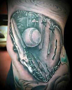 Men's Baseball Glove Tattoo Designs Softball Tattoos, Daddy Tattoos, Arm Tattoos For Guys, Tatoos, Remembrance Tattoos, Ripped Skin Tattoo, Baseball Pictures, Dodgers, Tatting