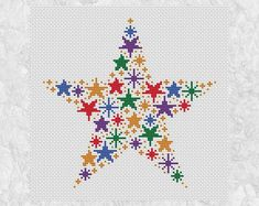 Rainbow stars cross stitch pattern modern counted cross