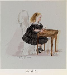 Sketch of Princess Beatrice by her mother Queen Victoria - Osborn House, May 1860 Queen Victoria Children, Queen Victoria Family, Queen Victoria Prince Albert, Victoria And Albert, Princesa Beatrice, Victoria's Children, Victoria Art, English Royal Family, Royal Art