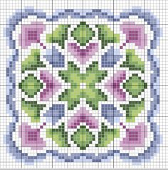 Cross-stitch biscornu ... no color chart available, just use the pattern chart as your color guide.. or choose your own colors... gazette94: biscornu