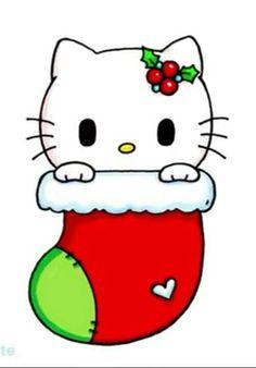 Hello Kitty in a stoking Chibi Kawaii, Kawaii Doodles, Cute Girl Drawing, Drawing For Kids, Pusheen Cute, Hello Kitty Christmas, Cute Animal Drawings Kawaii, Kawaii Illustration, Art Drawings Beautiful