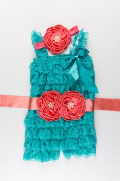 3 piece Teal & Coral Petti Lace Romper set Birthday by BabyBouteek