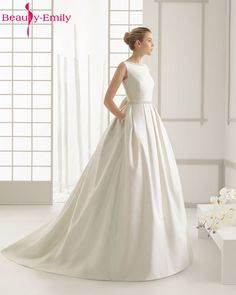 Cheap wedding dress, Buy Quality wedding dress 2017 directly from China backless bridal gown Suppliers: Beauty-Emily Ivory Stain Wedding Dresses 2018 Beads Bow Floor-Lenth Court Train O-Neck Backless Bridal Gown Party  Dresses