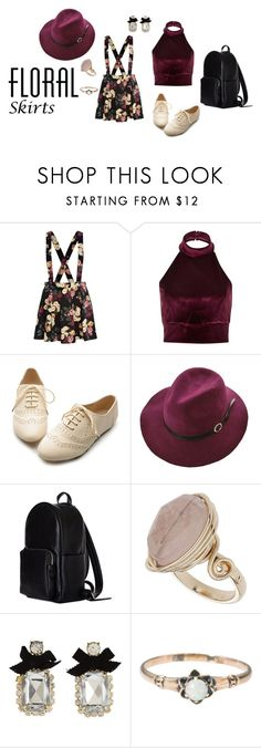 """Floral Skirt"" by rebellious-ingenue ❤ liked on Polyvore featuring River Island, Ollio, Topshop, Betsey Johnson and Floralskirts"