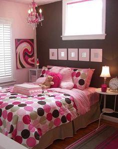 Dormitorio juvenil en rosa y chocolate