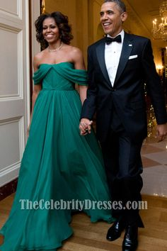 Michelle Obama Off-the-Shoulder Prom Evening Dress 36th Kennedy Center Honors Gala