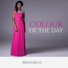 An #illusion #neckline in Begonia pink - hot pinks are a #fun and #vibrant #colour choice for your #bridesmaids #dresses and #wedding theme. Get this #strapless look with belt detail from Bride&co in style: VC4169. Click to view. #weddings #brideandco #southafrica