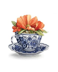 Mother's Day Gift Idea Antique Delft Blue Teacup # food Gift Ideas Mother's Day Gift Idea - Antique Delft Blue Teacup Illustration (Archival Print) - Tea Cup Art - by Alicia's Infinity Oil Painting Flowers, Oil Painting On Canvas, Watercolor Flowers, Watercolor Art, Tea Cup Art, Tea Cups, Tea Cup Drawing, Horse Wall Art, Painting Gallery