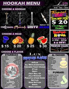 Lux Lounge Menu - Back! Come to Lux Lounge in West Bloomfield, MI to relax with friends at a premiere hookah lounge in an upscale atmosphere! Hookah Lounge Decor, Lounge Bar, Pool Lounge, Lounge Design, Menu Design, Lounge Ideas, Design Table, Middle Eastern Decor, Restaurant Themes