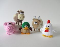 Farmyard Friends toy knitting patterns - duck, pick, cow, goat, chicken on Etsy (affiliate link) tba