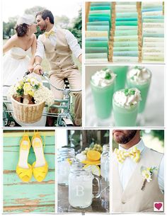 Sweet Yellow & Mint Wedding Ideas, Spring Wedding Ideas...***Teal in place of mint?