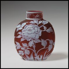 Peony vase of etched and engraved 'cameo' glass in the style of Thomas Webb & Sons (late 19th century).  Image and text courtesy The Metropolitan Museum of Art.