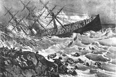 The White Star Line steamer RMS ATLANTIC - During the ship's 19th voyage, on 1 April 1873, it ran onto rocks and sank off the coast of Nova Scotia, killing 535 people. The Atlantic wreck was one of the worst shipwreck disasters prior to the Titanic.