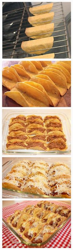 Baked Taco Shells Ingredients: 2 lbs ground beef 1 can refried beans 15 ounce tomato sauce 1 pkg taco seasoning or 2 3 Tablespoons of homemade taco seasoning) 1 2 cups shredded cheese (I - Food And Drink For You Mexican Dishes, Mexican Food Recipes, Beef Recipes, Cooking Recipes, I Love Food, Good Food, Yummy Food, Tasty, Baked Taco Shells