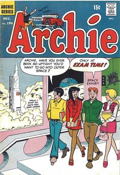 "Archie 196 1969 FN VF Apollo 11 Moon Landing Betty Veronica -- I haven't been able to even look at the TV series ""Riverdale"" -- just the commercials are painful to watch. Archie Comics, Archie Comic Books, Vintage Comic Books, Old Comics, Vintage Comics, Vintage Toys, Vintage Stuff, Vintage Barbie, Retro Vintage"