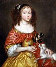 Princess Louisa of the Palatinate (1622 - 1709) by ? in a gold dress with red wrap | Grand Ladies | gogm