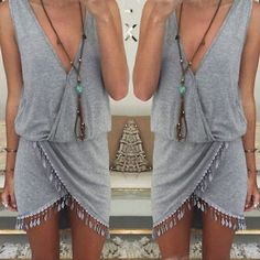 New 2016 fashion Women Summer casual dress Boho Beach Sleeveless Aysmmetrical Tassel Dresses