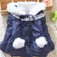 How adorable is our a Sweet Charlotte polka dot fall winter jacket with accents of white fluffy faux fur!!! We are now taking Pre Orders on this sweet jacket!! Very limited quantities available... Sizes 12 month 24 month 3T & 4 available... PRE ORDER PRICE $34.99  To place order please leave your email below and size needed and a invoice with be sent if your size is still available...