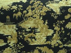 Williamsburg-TOILE-Japan-China-Asian-Black-Home-Decor-Upholstery-Fabric