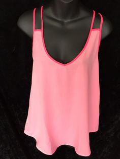 Victoria's Secret Strapped Cami Sheer Tank Top Hot Pink High Low Small #VictoriasSecret