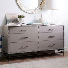 "$1199  Dimensions: 60""w x 18.5""d x 32.5""h. Nailhead 6-Drawer Dresser | west elm"