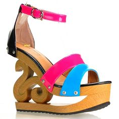 Show Story Colorblock Ankle Strap Wooden Wedge Platform Clogs Sandals,LY11806