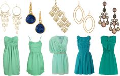 """Mint & Turquoise Bridesmaid with Statement Earrings"" www.stelladot.com/elizabeth"