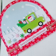 SANTA+IS+COMING+CHRISTMAS+CARD - Scrapbook.com #snowglobecard #doodlebugdesign #lawncut #silhouette #shapedcard #christmascard