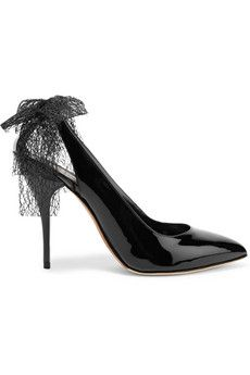 Oscar de la Renta Filina bow-embellished patent-leather pumps | THE OUTNET